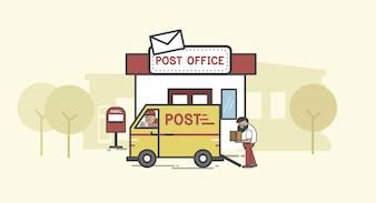 Set d'illustration de la livraison du courrier