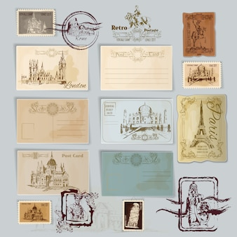 Set de cartes postales vintage