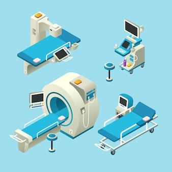 Set de matériel de diagnostic médical isométrique. Illustration 3D ordinateur tomographie ct