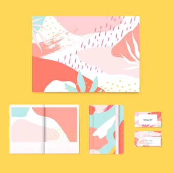 Set de vectoriel coloré Memphis design layout