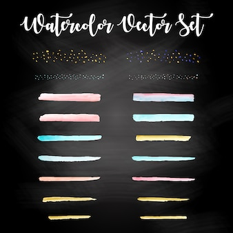 Set de design aquarelle coloré vecteur gratuit