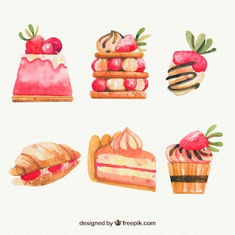 Set de desserts aquarelle