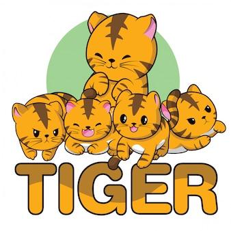 Set dessin animé mignon de tigre