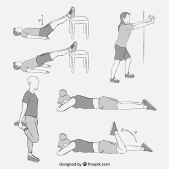 Set avec différents types d'exercices de physiothérapie