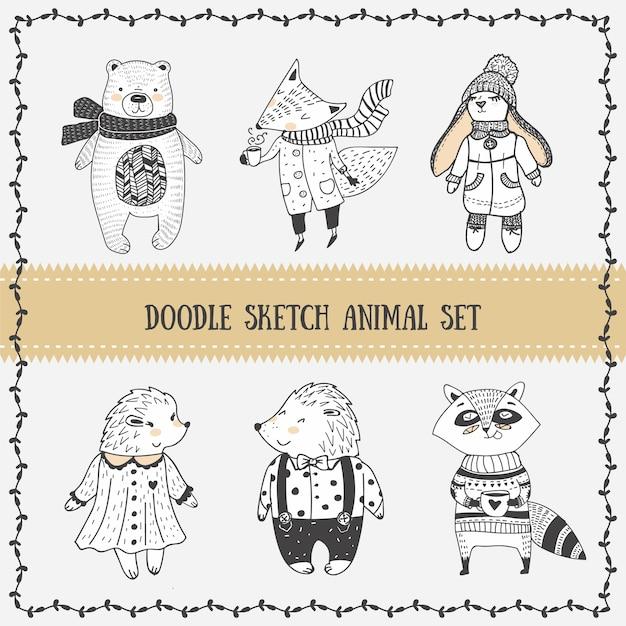 Set doodle sketch cuti animal