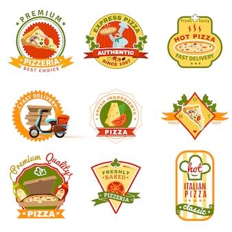 Set d'emblèmes de pizza