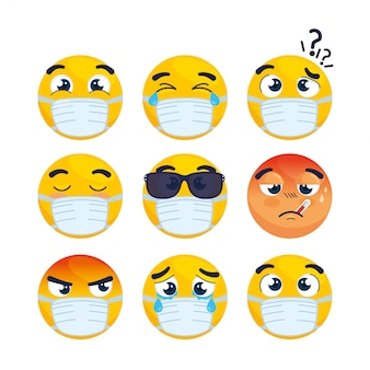 Set emojis portant un masque médical, visages emojis portant des icônes de masque chirurgical vector illustration design