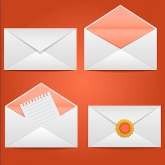 Set d'enveloppes ouvert fermé scellé avec une lettre vector illustration