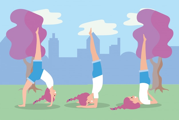 Set femme pratique exercice yoga pose