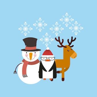 Set Figures Joyeux Joyeux Noël Carte Vecteur Premium