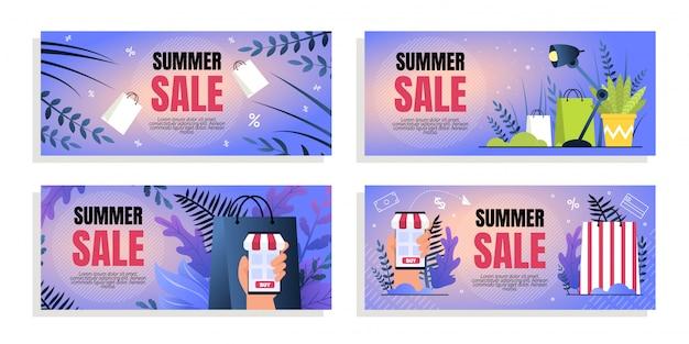 Set flat coupon inscription summer sale caricature