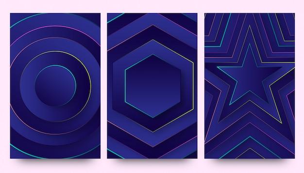 Set de fonds d'écran fond d'écran élégant néon dégradé bleu