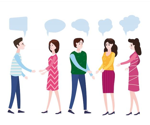 Set friends caractères set vector. rire des amis, collègues de bureau. situations commerciales. homme et femme prennent une photo. concept d'amitié