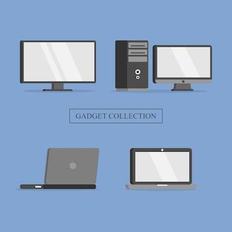 Set gadget laptop computer tv furniture collection illustration