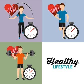 Set gens sport rythme cardiaque athlétique et chronomètre mode de vie sain