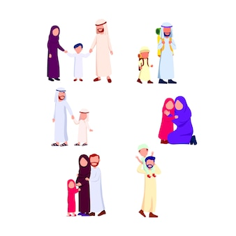 Set group illustration heureuse famille arabe