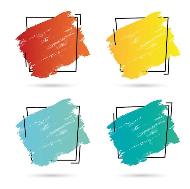 Set grunge brosse peinture texture design acrylique coup