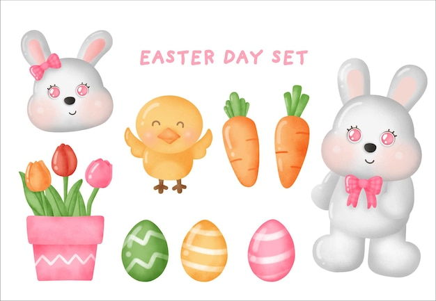 Set happy easter day avec de jolis éléments de pâques.