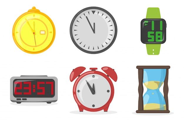 Set horloges, illustration vectorielle, style plat
