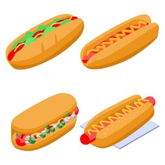 Set de hot-dogs, style isométrique