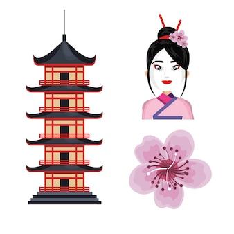 Set icon japon culture traditionnelle
