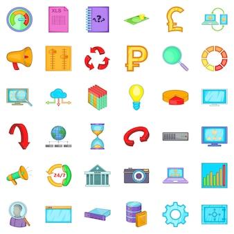 Set d'icônes d'accessoires, style cartoon