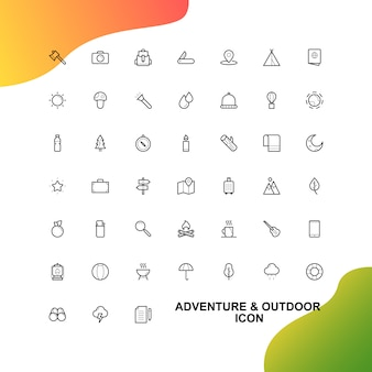 Set icônes aventure et voyage