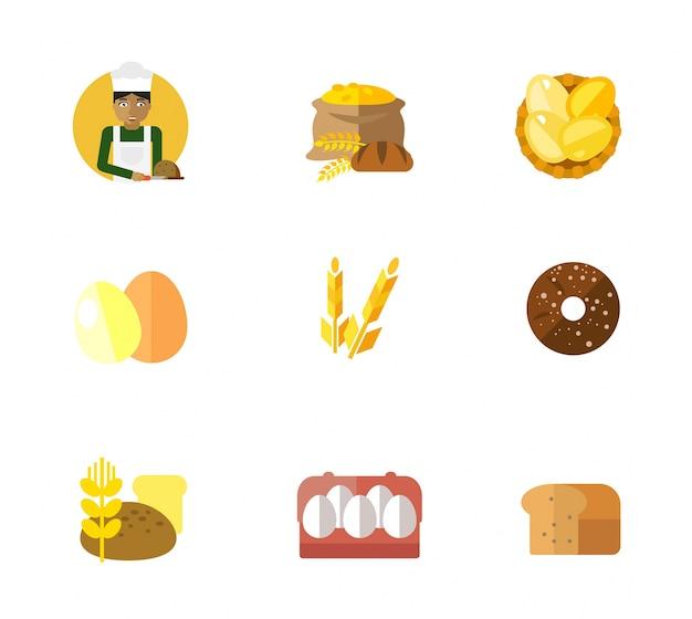 Set D'icônes De Boulangerie Vecteur gratuit