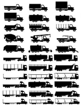 Set d'icônes camions semi-remorque silhouette noire illustration vectorielle