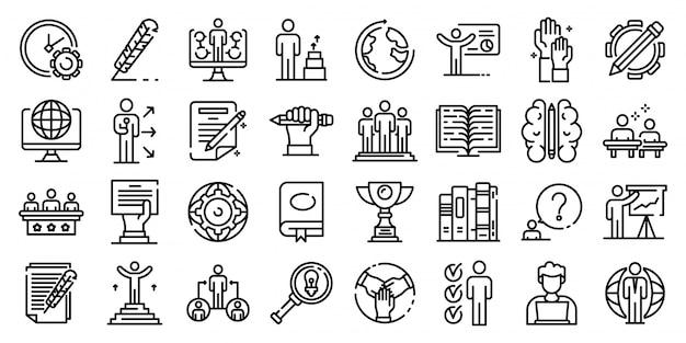 Set d'icônes de l'éducation du personnel, style de contour