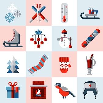 Set d'icônes d'hiver