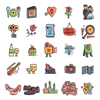 Set d'icônes de mariage dessinés à la main