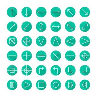 Set d'icônes minces de vecteur. ligne simple flèches