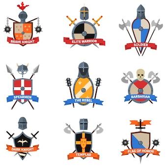 Set d'icônes plat emblèmes chevaliers médiévaux