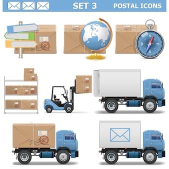 Set d & # 39; icônes postales 3