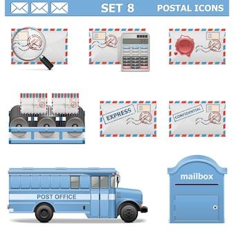 Set d & # 39; icônes postales 8