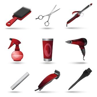 Set d'icônes de salon de coiffure