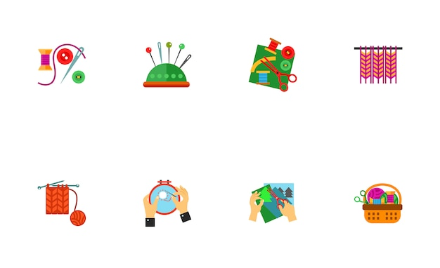 Set d'icônes de travaux d'aiguille