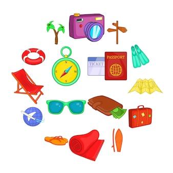 Set d'icônes de voyage, style cartoon