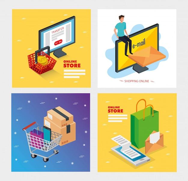 Set illustration boutique en ligne