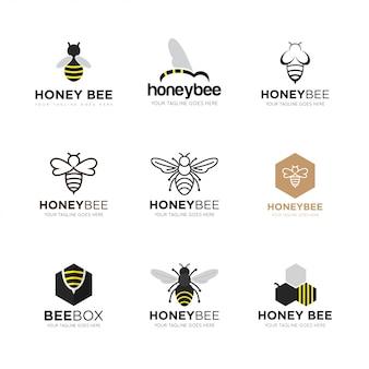 Set illustration vectorielle abeille logo