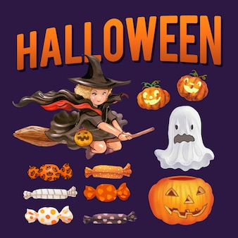 Set d'illustrations sur le thème halloween