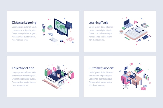 Set d'illustrations vectorielles de l'éducation en ligne