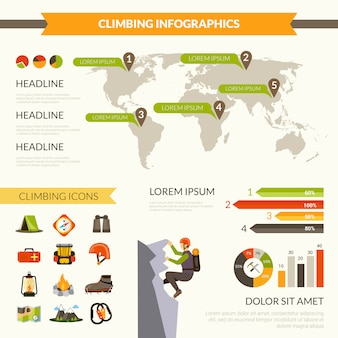 Set d'infographie d'escalade