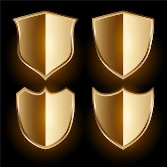 Set d'insignes de bouclier d'or réaliste