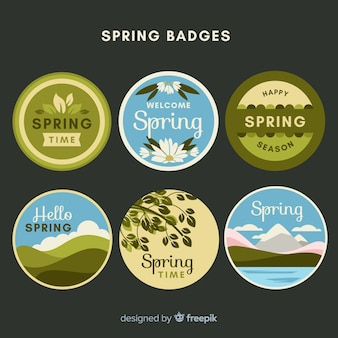 Set d'insignes de printemps cerclés