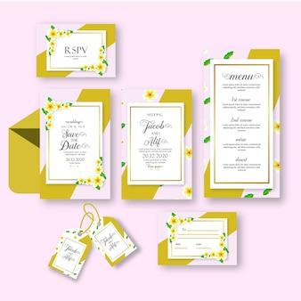 Set d'invitation de mariage avec fleur de jasmin