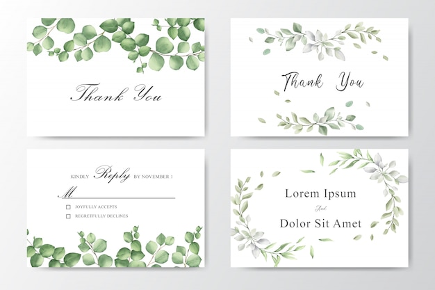 Set d'invitations de mariage aquarelle