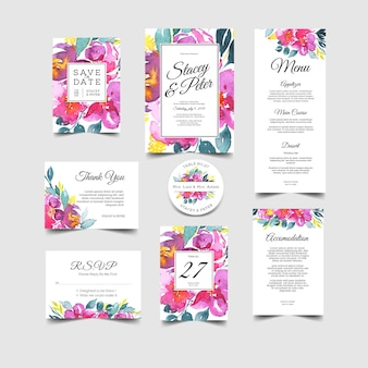 Set d'invitations de mariage d'aquarelle