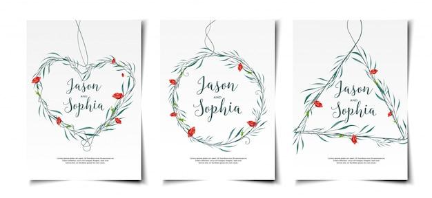 Set d'invitations de mariage couronne aquarelle